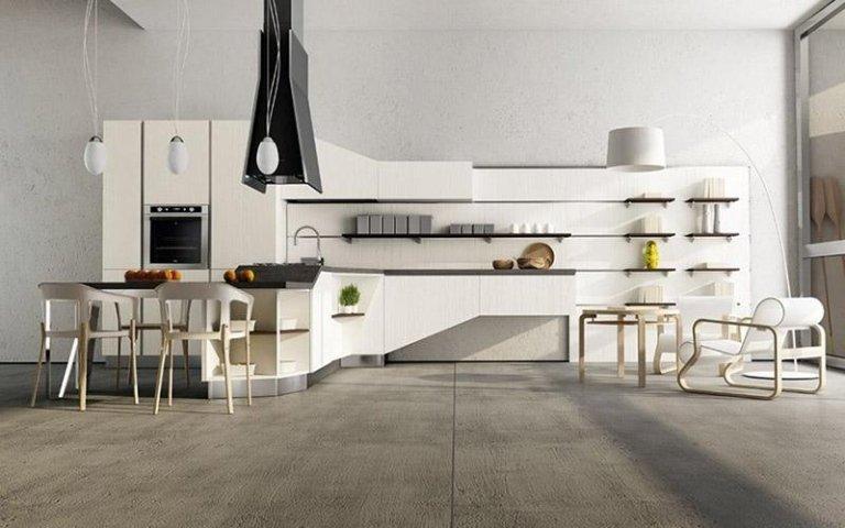 Cucina con penisola in legno