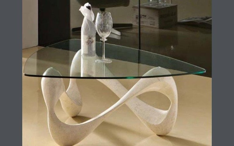 Tavolino pietra e vetro