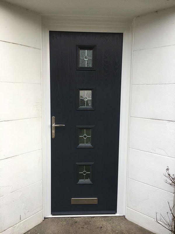 door with glass opening