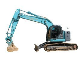 john lacey earthmoving p l blue excavator digging the ground