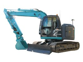 john lacey earthmoving p l blue excavator in side angle