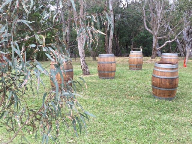wedding wine barrel set up