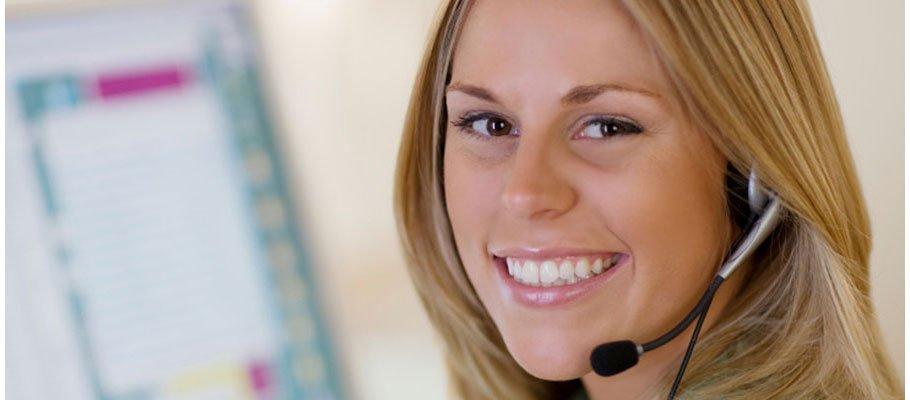 Woman taking calls