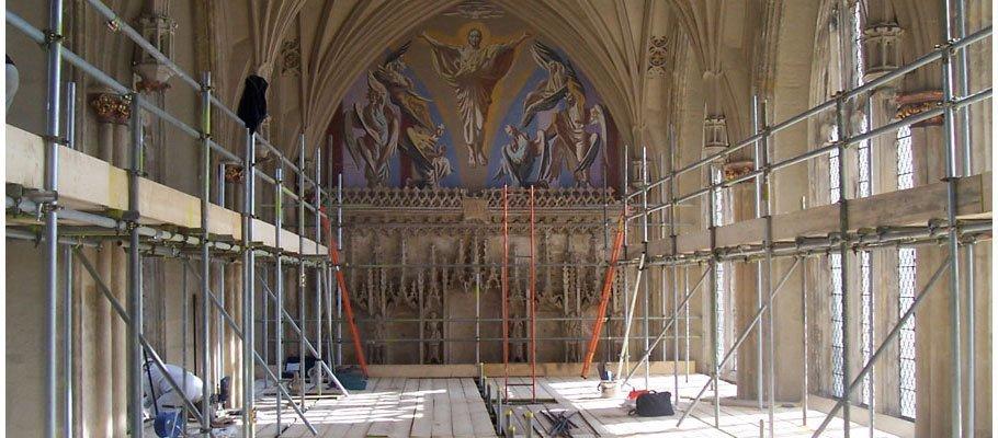 Scaffolding inside a church