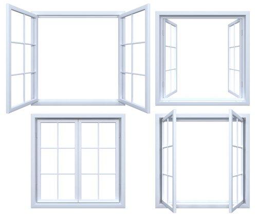 quattro tipologie di finestre bianche in metallo