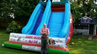 man with a slide