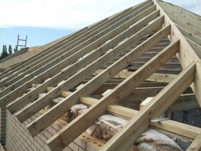 Wooden roof beams during roof installation