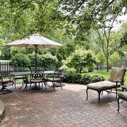 Large patio with garden furniture