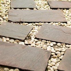 Slate and gravel paving