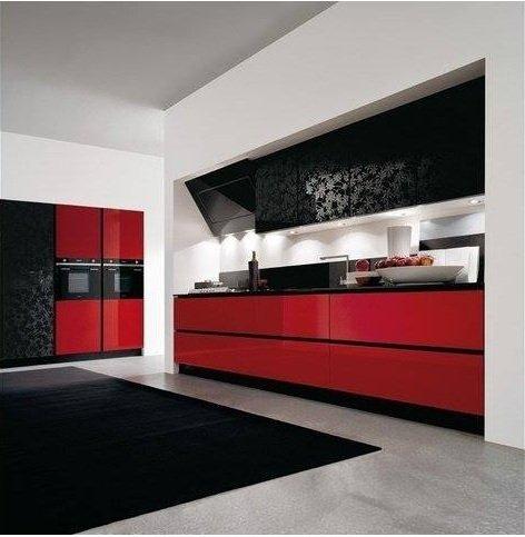 Cucina rossa e nera