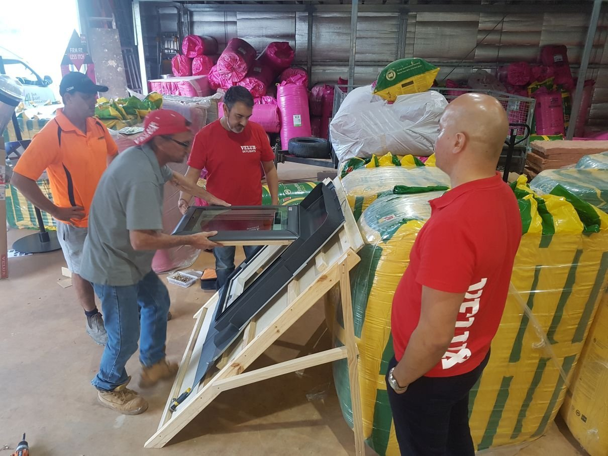 Velux reps come to the Air Light Insulation's factory to do some product and installation training.