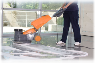 A work surface being scrubbed clean