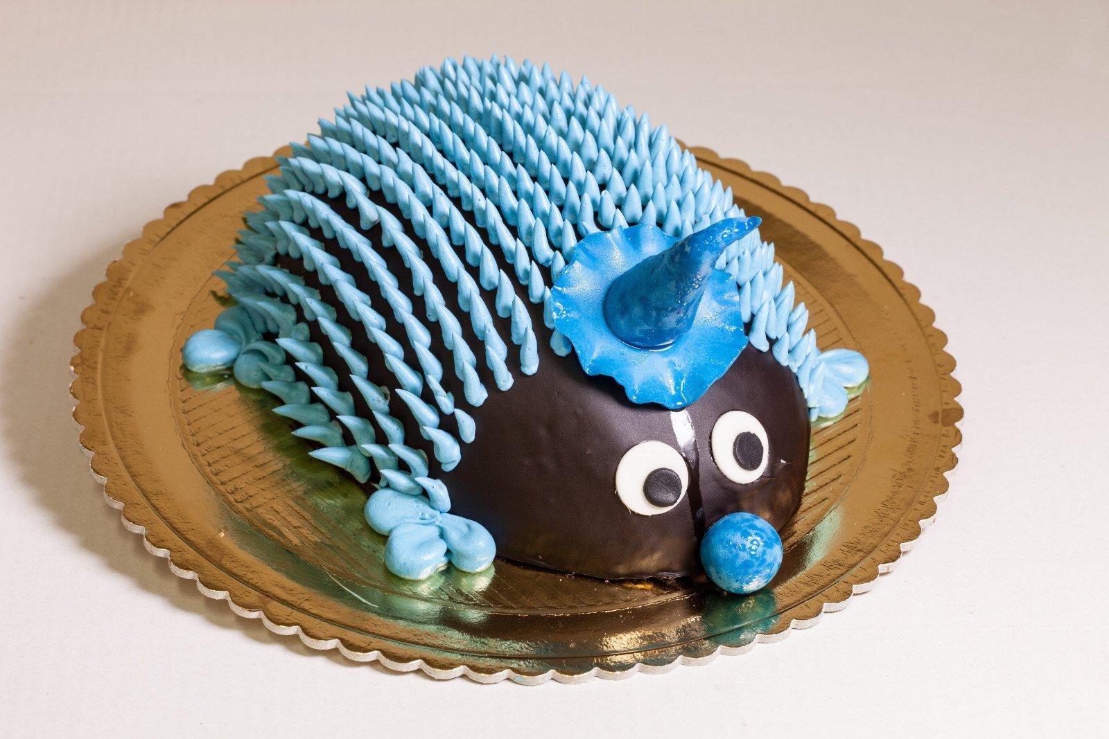 Torta a forma di riccio per maschiaetto con copertura azzurra