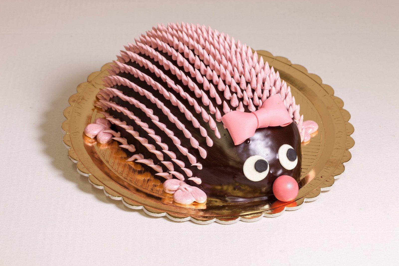 Torta a forma di riccio con copertura in cioccolato e decorazioni rosa
