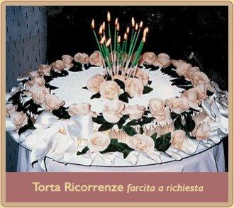 Tort ricorrenze con panna e roselline di ostia