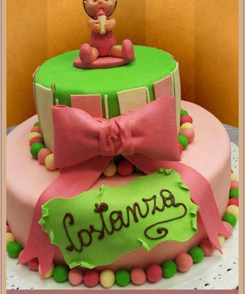 Torta battesimo rosa e verde