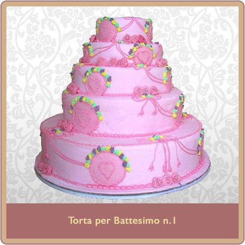 Torta battesimo a 5 piani rosa