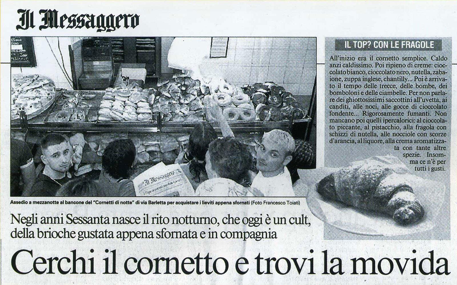 articolo di giornale che parla della pasticceria