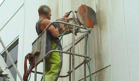 man drilling