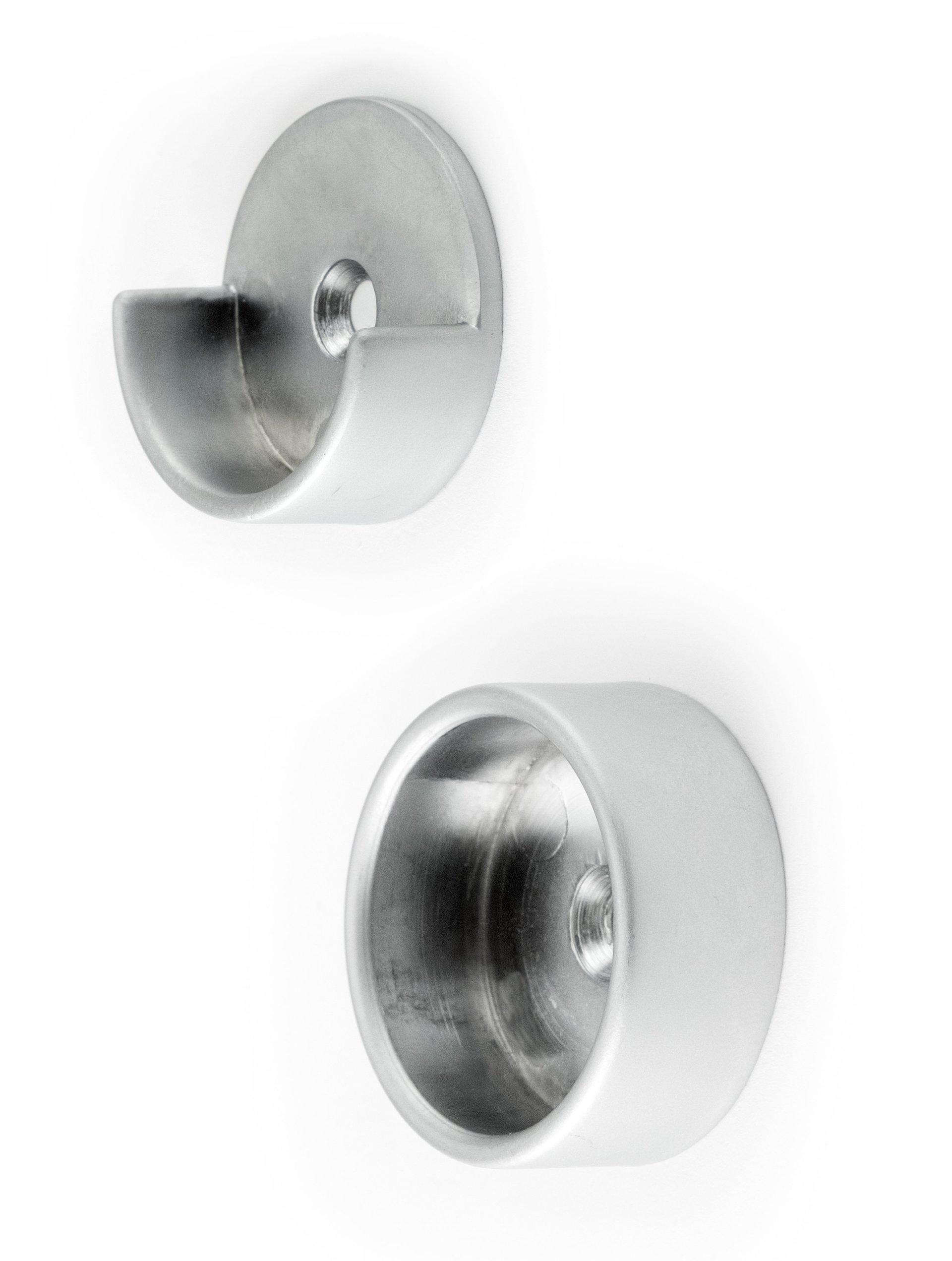 Brushed Chrome Closet Pole Cups