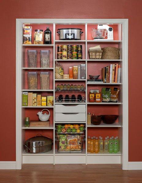 White Reach In Kitchen Pantry Shelves