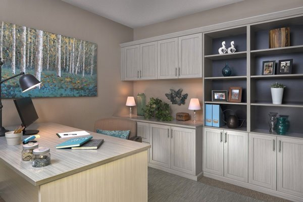 Concrete Finish Home Office Cabinets