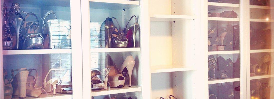 Shoes in bookshelf
