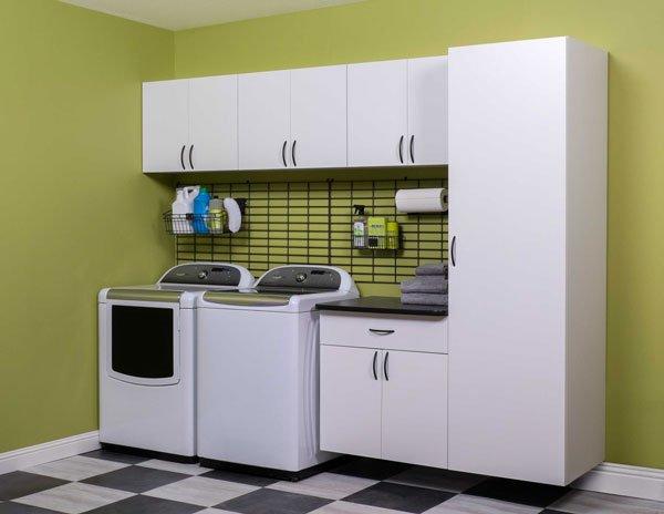 Custom White Laundry Cabinets