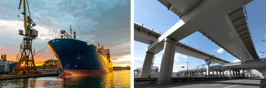 A ship in a port and elevated roads in Auckland are examples of infrastructure systems