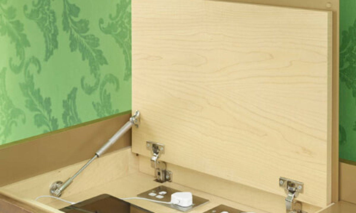 Wooden unit that opens as a cupboard