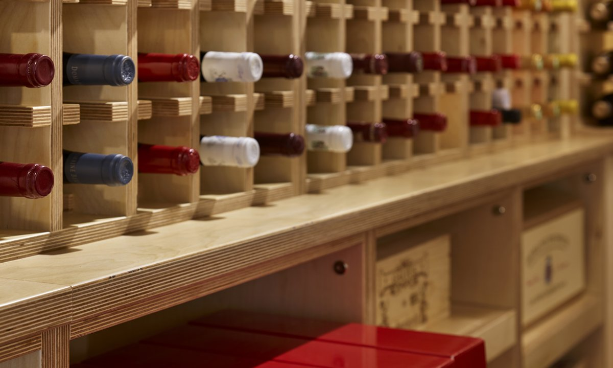 close up of wine rack