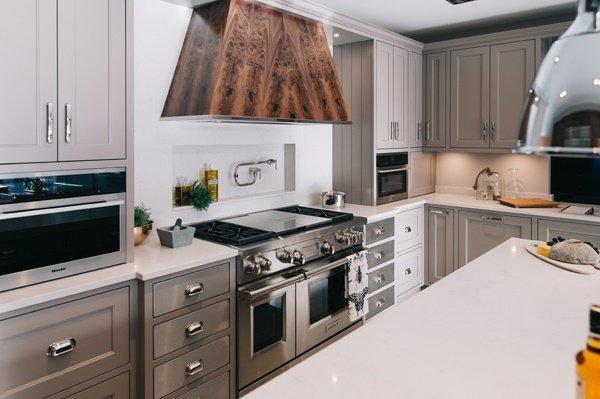 silver kitchen units