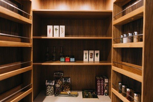 Inside a kitchen cupboard