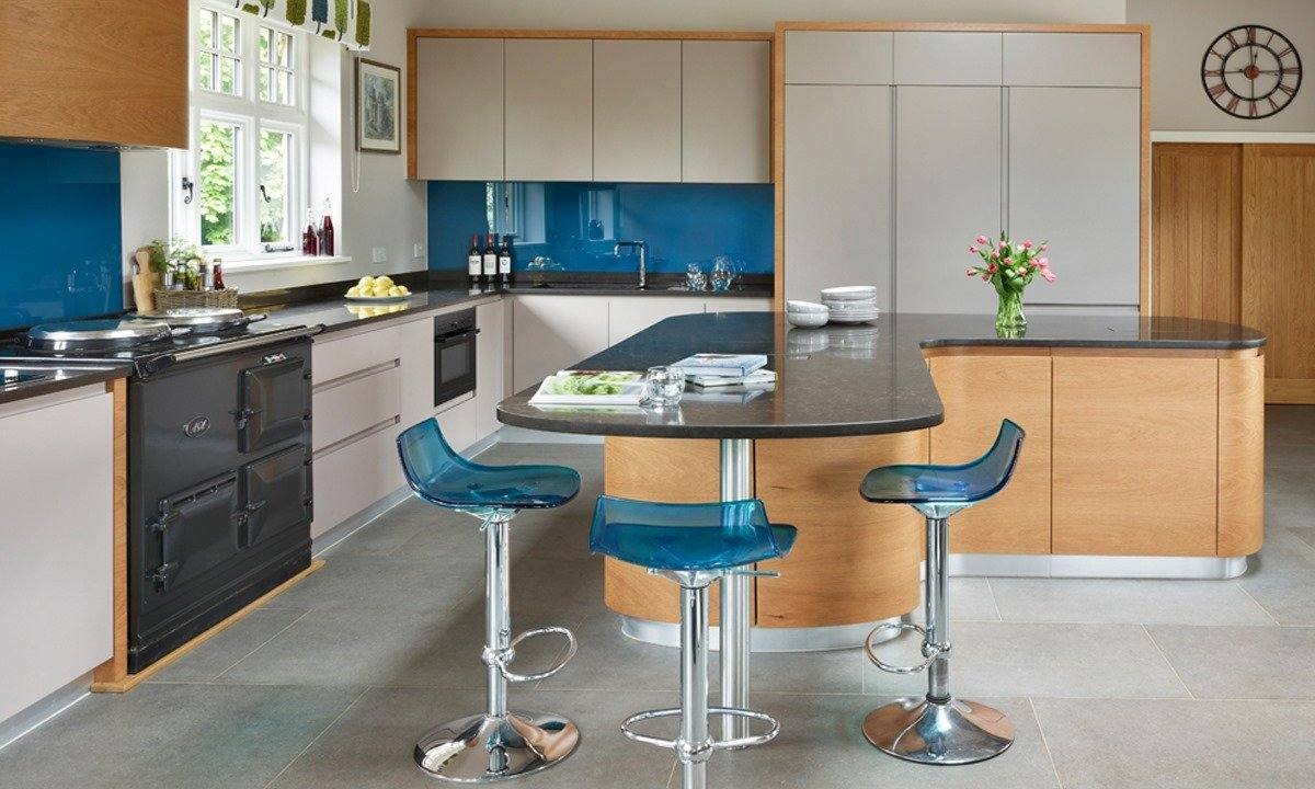 Modern blue and silver kitchen