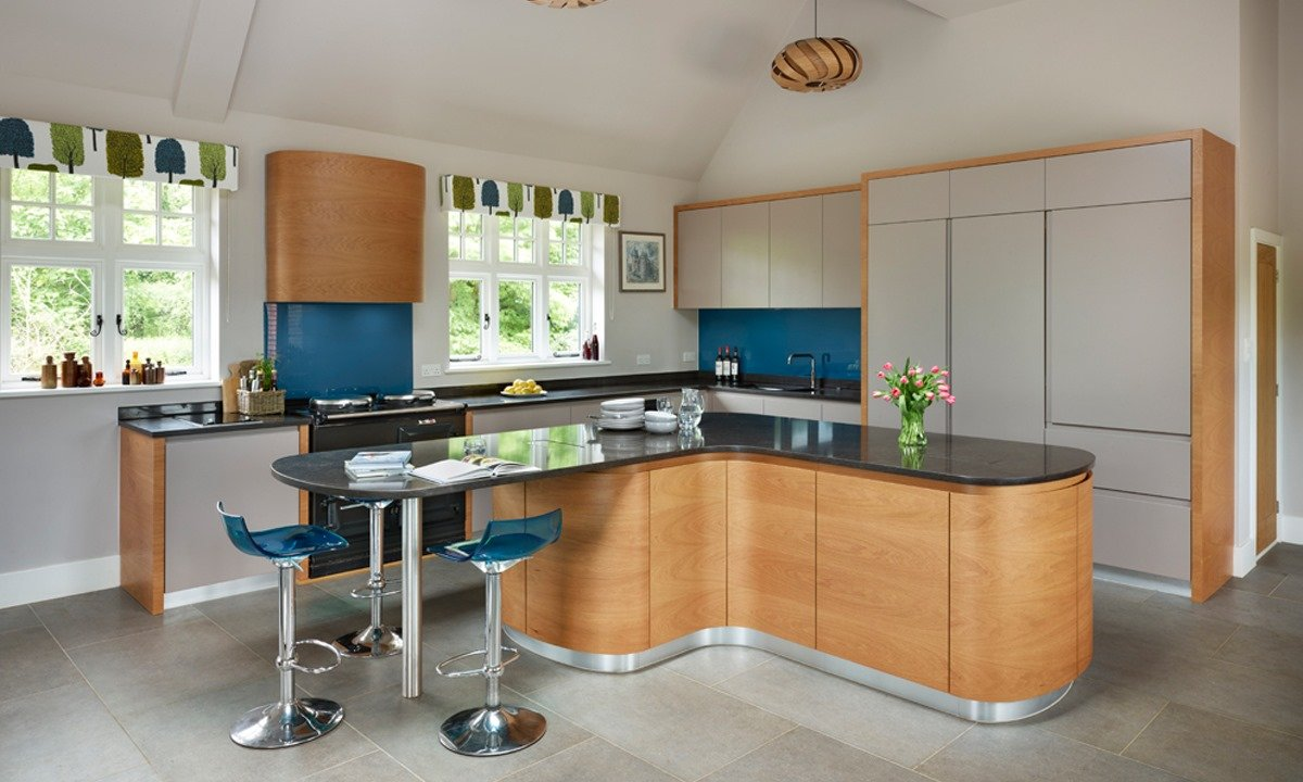 silver and blue style kitchen