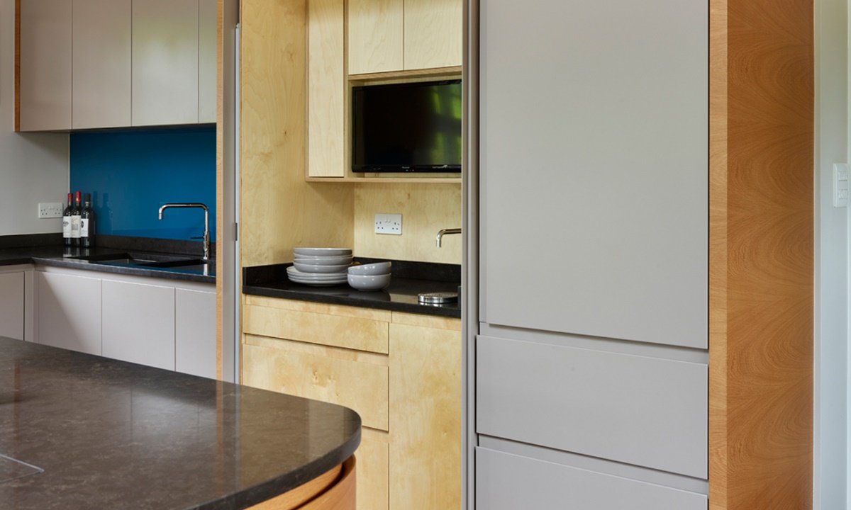 silver and wooden kitchen