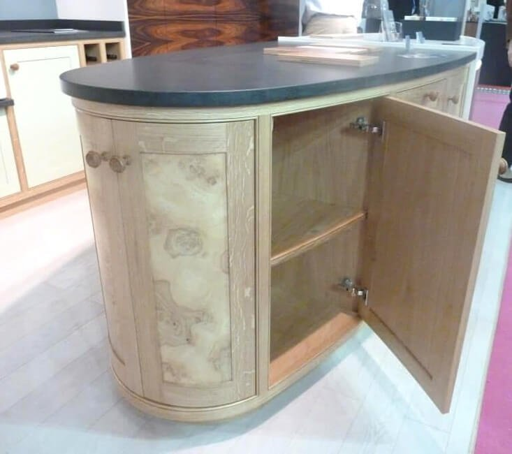 curved kitchen cupboard