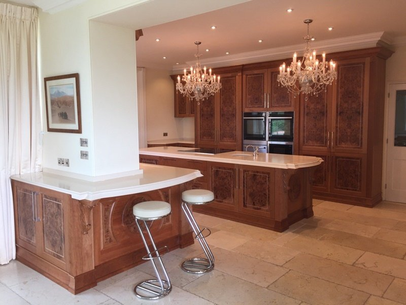 Bar stools by a kitchen worktop