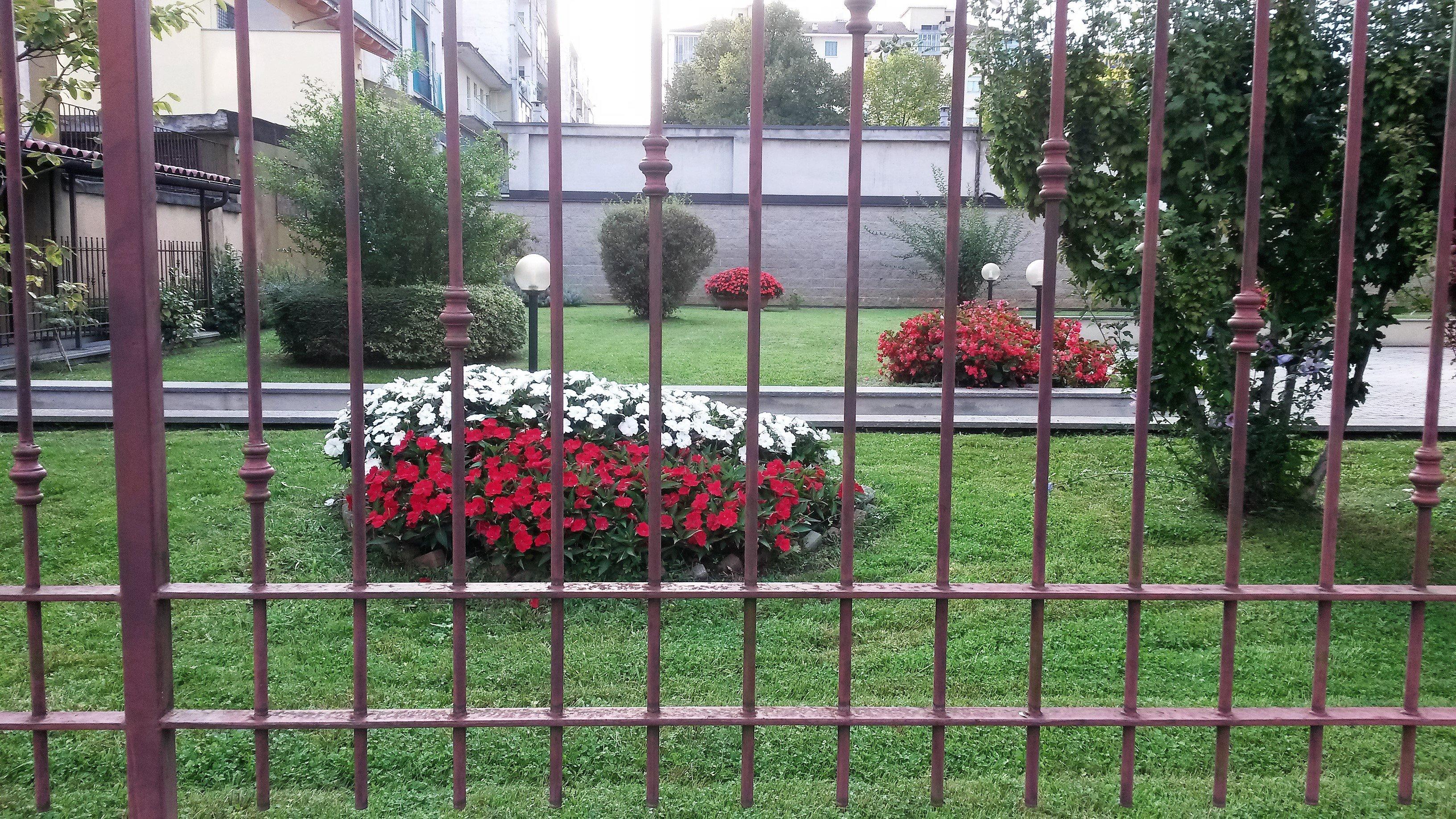 giardino curato visto da grata esterna in ferro