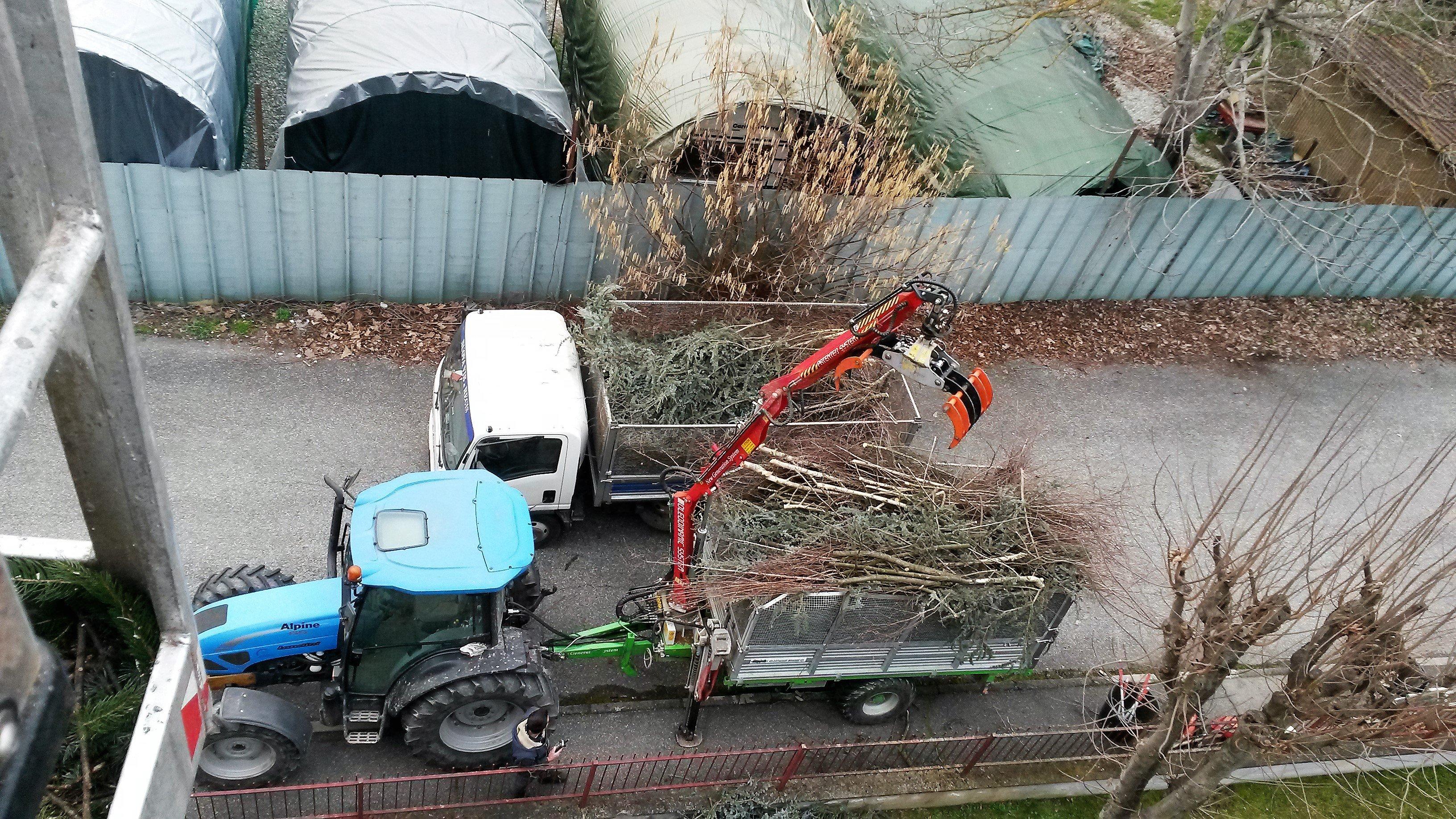 caricamento rami secchi su trattore