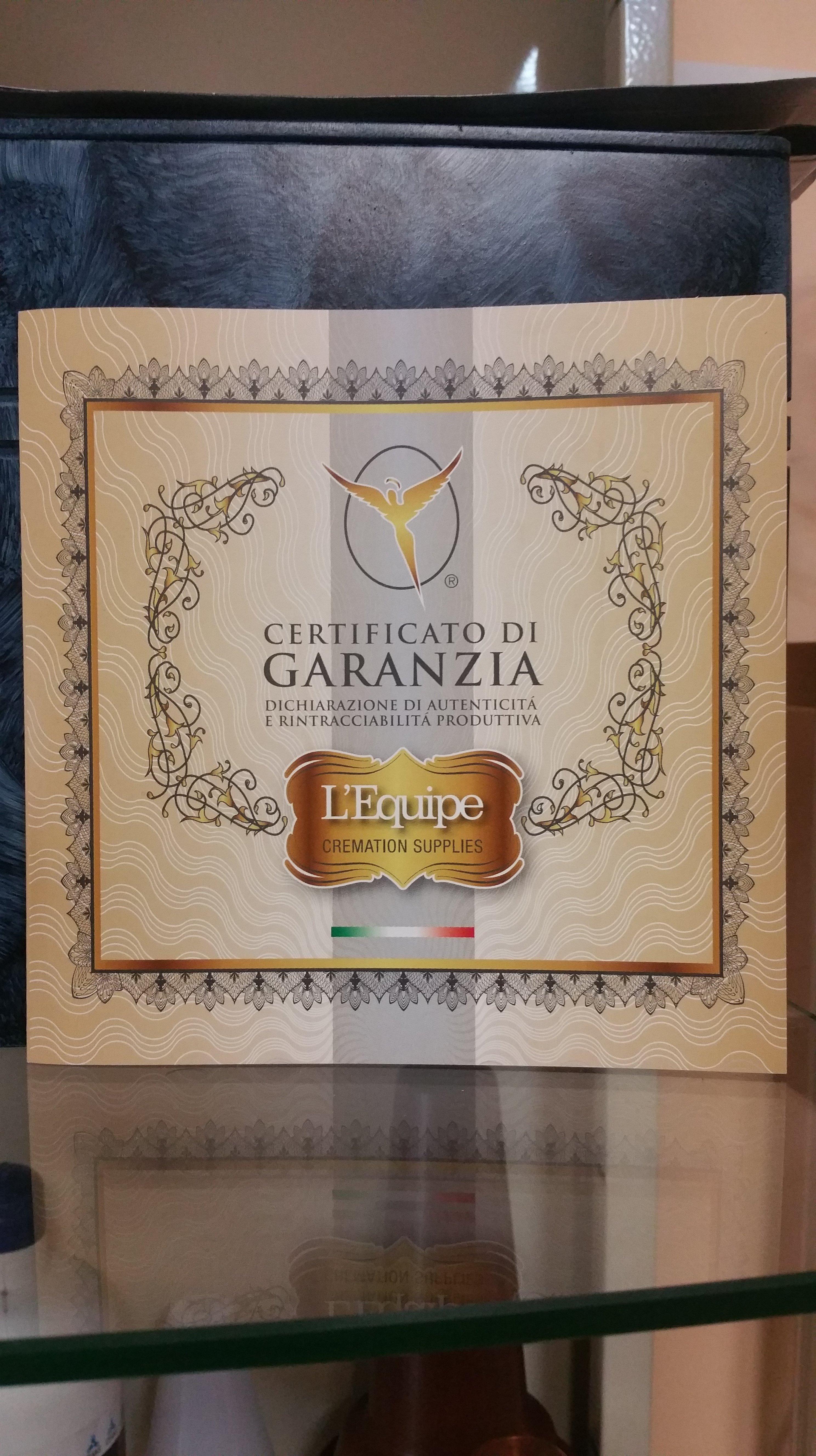 Certificato di garanzia per cremazioni