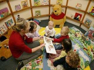 Children in book room