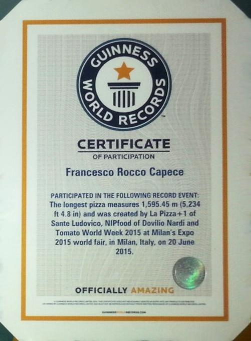 Attestato Guinness World Record