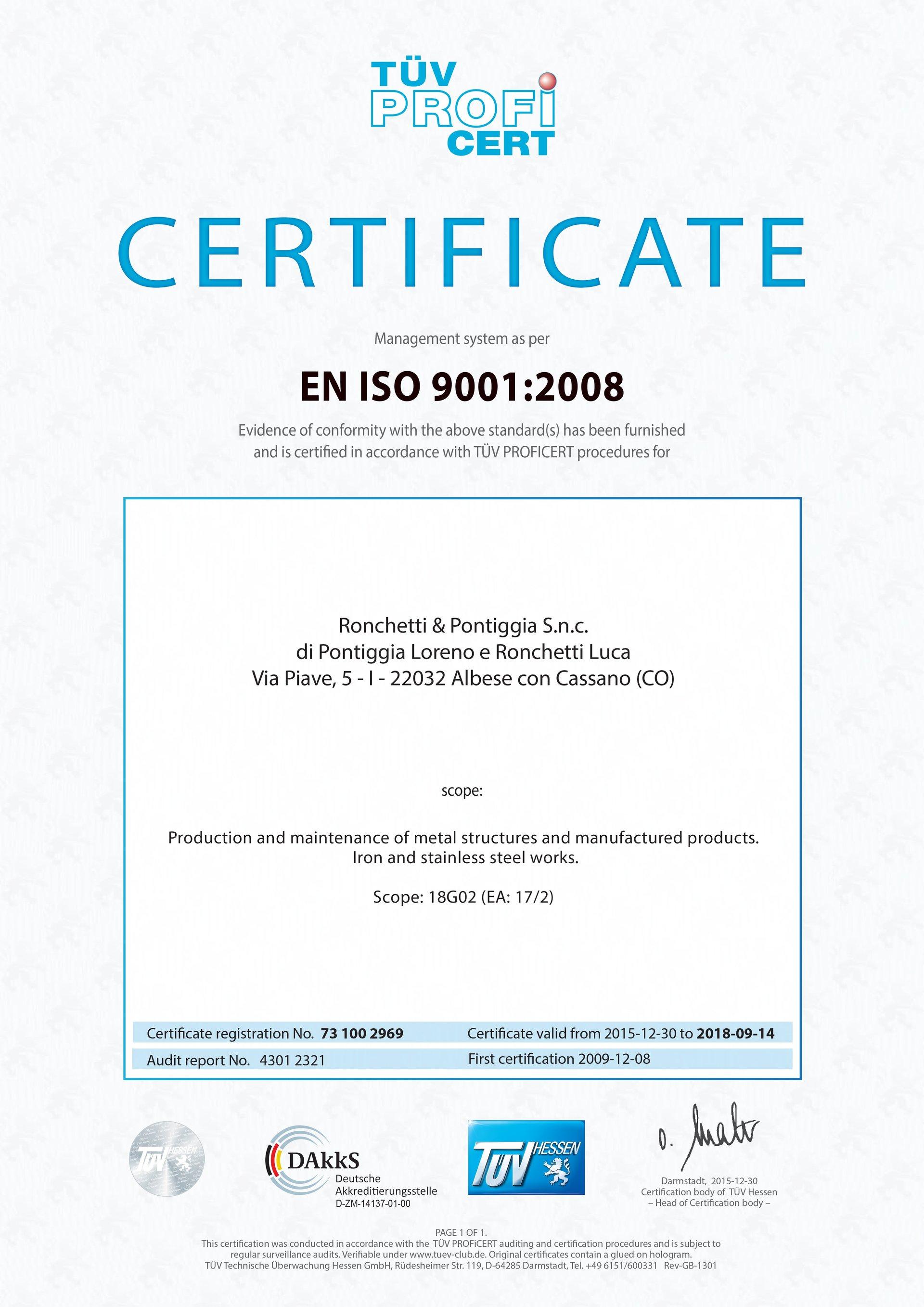 Certificazioni di sistema di gestione in lingua inglesa