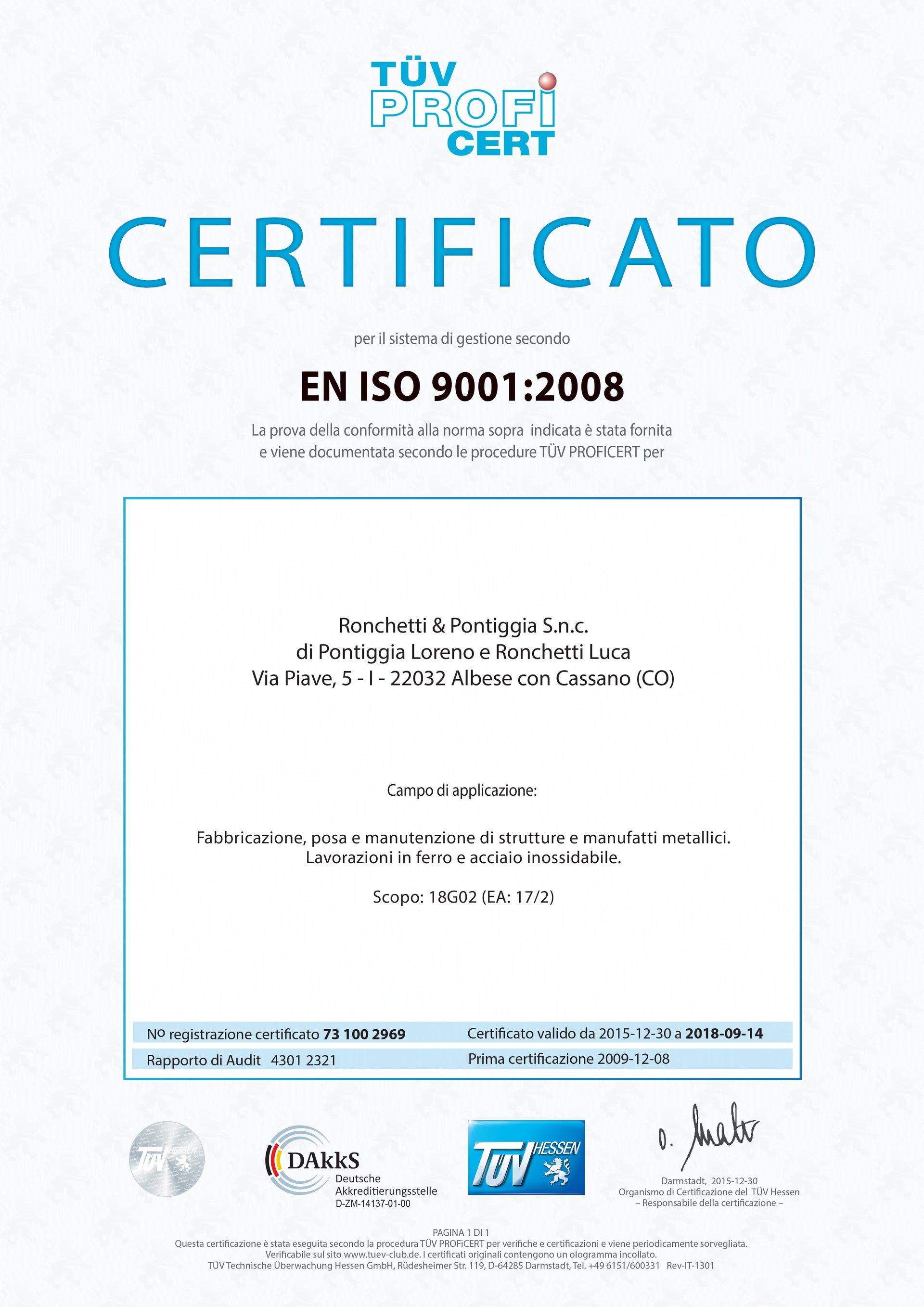 Certificazione di sistema di gestione in lingua italiana