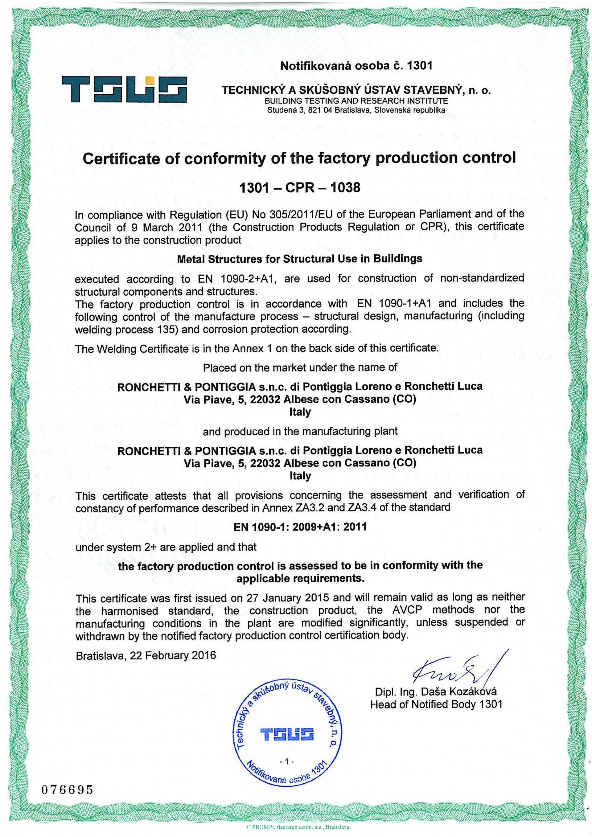 Certificazione del controllo della produzione in fabbrica (FPC)