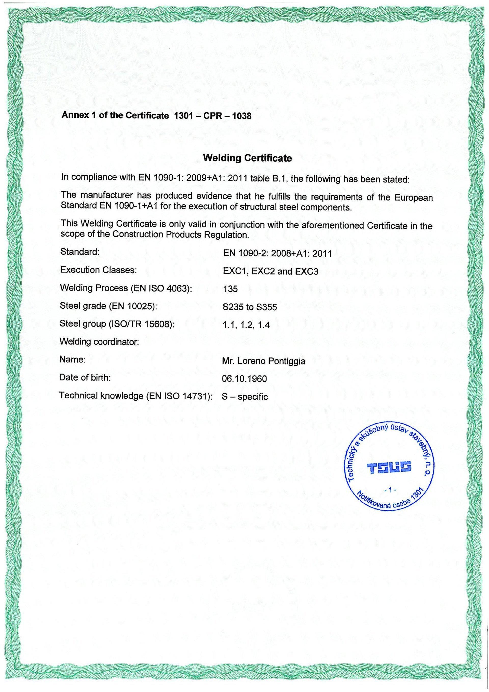 Certificazione dell'Istituto Italiano della Saldatura