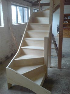 light brown wooden staircase