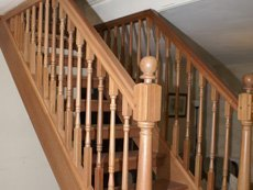 wooden staircase handles