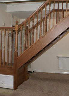 wooden staircase side view